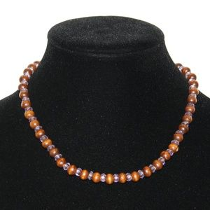 Vintage wooden and purple beaded necklace